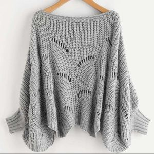Grey Dolman Sleeve Scalloped Sweater